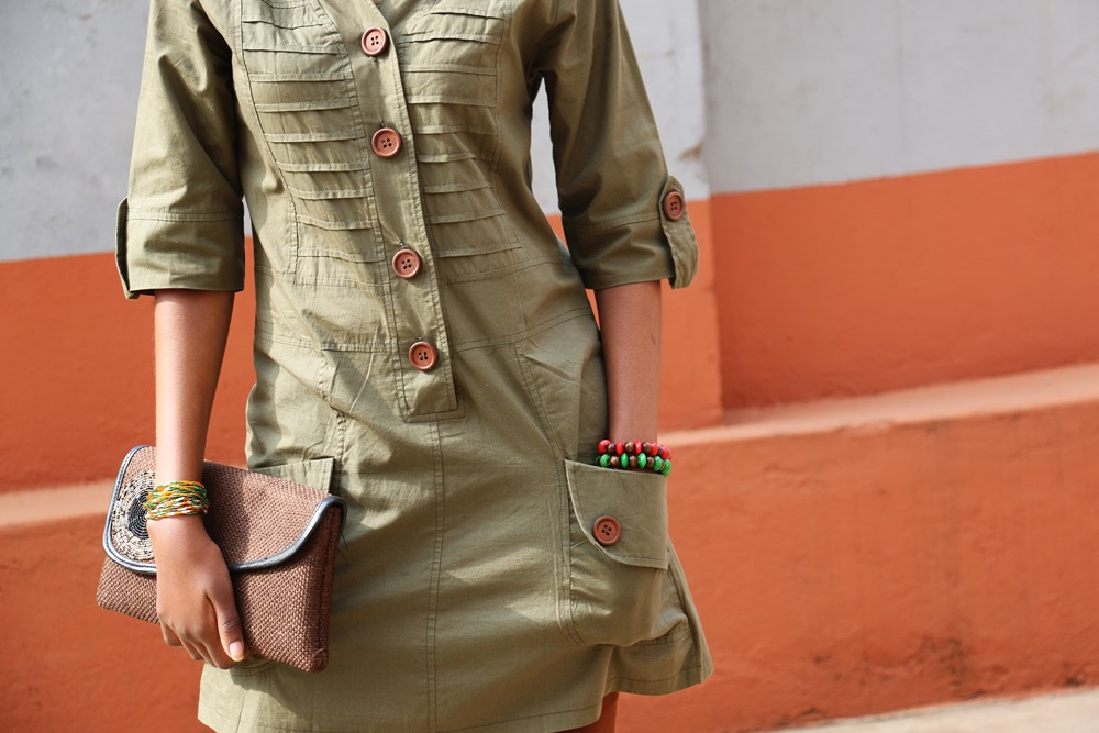 Details: Olive, Brown & Ruffled Lace